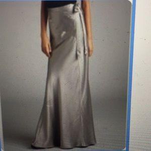 Gorgeous down to floor satin silver skirt